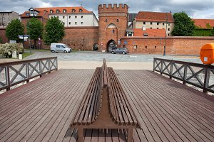 Bench and Gate to Torun Old Town