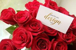 Roses&Card. Mockup PSD.