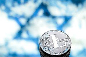 coins litecoin, Israeli flag