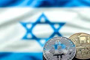 Bitcoin coins, Israeli flag