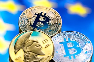Bitcoin coins, European flag