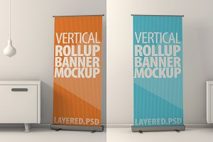 Roll Up Banner Mock-Ups. PSD