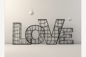 Word love over background