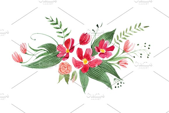 Aquarelle drawing of pretty little bouquet made of various red, purple and pink flowers and leaves isolated on white background