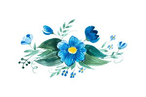 Watercolor painting of wild flowers boutonniere hand-drawn
