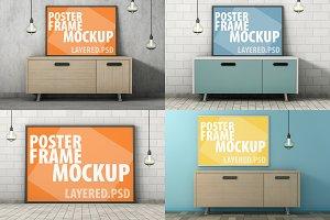 Mockup poster frame. PSD