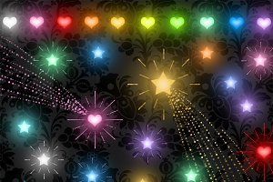 Glowing Stars and Hearts Clipart