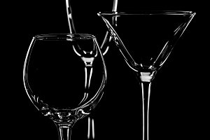 silhouette empty wine glasses