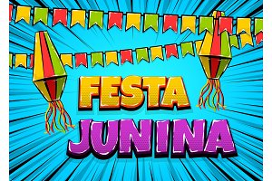 Festa Junina comic text pop art