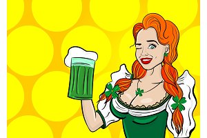 Red pop art woman st patrick day
