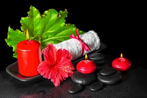 spa concept of red hibiscus flower