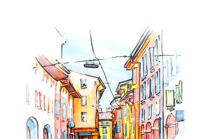 Medieval street in Bologna, Italy. Sketch