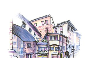 Medieval street in in Florence, Italy. Sketch