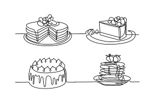 Set continuous line drawing of big cake