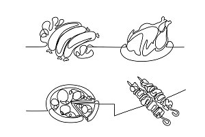 Set continuous line drawing food