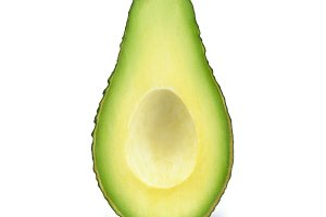 Avocado slice without stone isolated