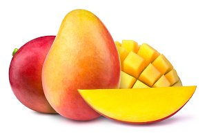 Two mangoes with slices to cubes isolated