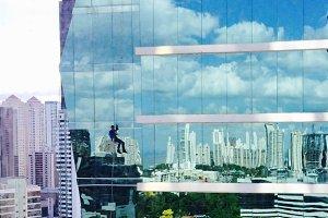 Skyline & Window Washer, Panama City