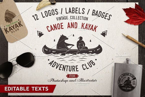 Canoe and Kayak Club Badges-Graphicriver中文最全的素材分享平台