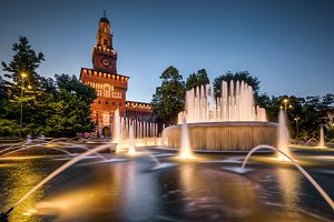 Castello Sforzesco at night in Milan