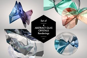 Set of 4 Abstract Glas Crystals