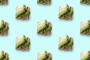 sandwiches with avocado on a blue background