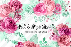 Pink and Mint Floral Clipart