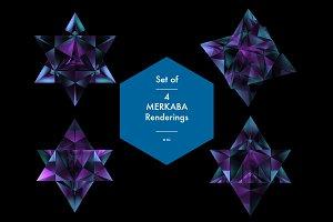 Set of 4 Merkaba Crystal Renderings