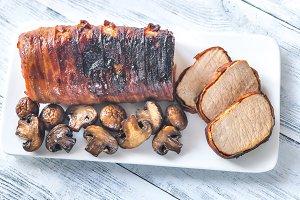 Bacon wrapped pork