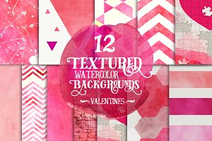 Watercolor Valentines Digital Papers