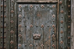 Old vintage wooden door