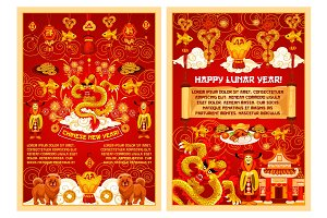 Chinese New Year vector symbols greeting card