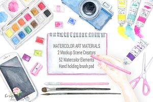 Watercolor Art Material Mockup