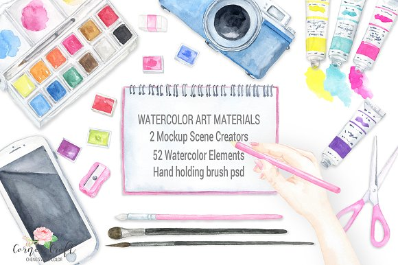 Watercolor Art Material Mockup