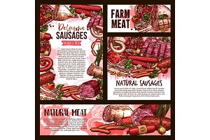 Vector sketch meat farm sausages product posters