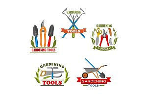 Vector icons of farm gardening tools