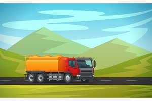 Tank truck long vehicle vector flat design