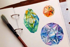 Watercolor diamonds set