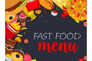 Fast food vector menu poster