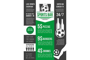 Vector menu poster for soccer bar or football pub