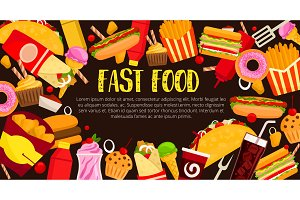 Fast food restaurant meals vector poster