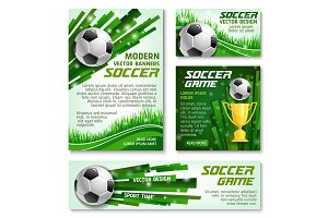 Vector football cup soccer team banner posters