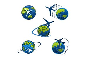 Travel agency vector icons plane and world globe