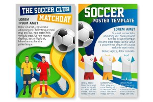 Soccer club team football match vector poster
