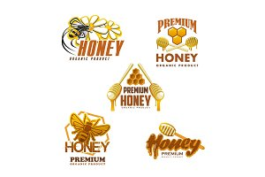 Honey bee premium organic product vector icons