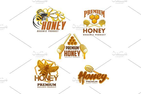 Honey bee premium organic product vector icons