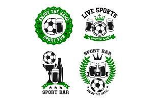 Vector icons for soccer bar or football pub