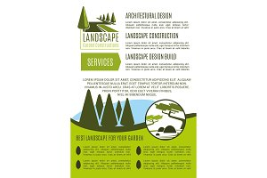 Vector poster for landscape garden design company