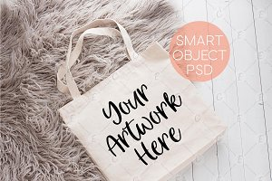 Tote Bag Mockup On Gray Rug (6232)