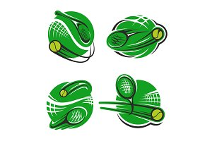 Tennis sport club racket and ball vector icons